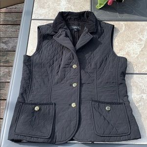 Talbots Black Quilted Vest ~ Sz Small